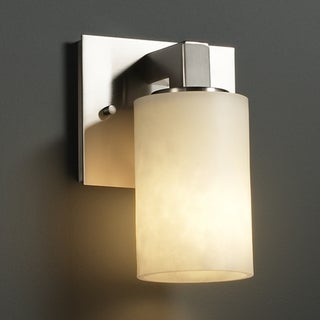 Justice Design Group 1-light Flat Rim Cylinder Brushed Nickel Resin Wall Sconce