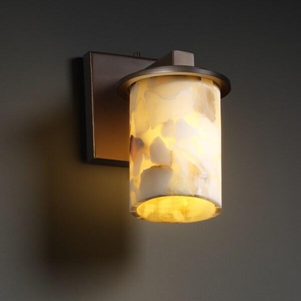 Justice Design Group 1-light Flat Rim Natural Alabaster Cylinder Dark Bronze Wall Sconce