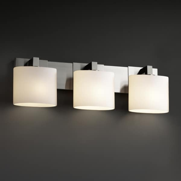 Bathroom Vanity Lights Overstock : Justice Design Group 3-light Oval Brushed Nickel with Opal Glass Vanity Fixture - Free Shipping ...