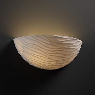 Justice Design Group 1-light Round Wave Impression Porcelain Wall Sconce
