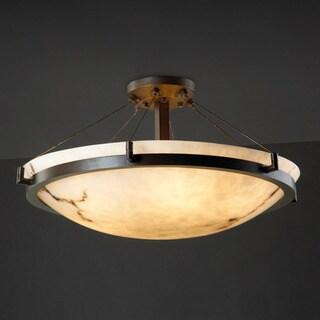 Justice Design Group 6-light Dark Bronze with Faux Alabaster Semi-flush Light Fixture