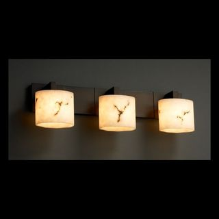 Justice Design Group 3-light Oval Dark Bronze with Faux Alabaster Vanity Fixture