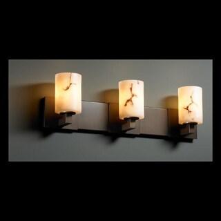 Justice Design Group LumenAria Modular 3-light Dark Bronze Bath Bar, Faux Alabaster Cylinder - Flat Rim Shade