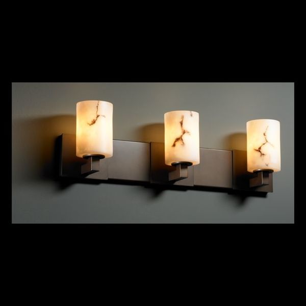 Justice Design Group 3-light Flat Rim Dark Bronze with Faux Alabaster Vanity Fixture