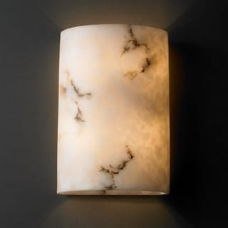 Justice Design Group 2-light Large Cylinder Faux Alabaster Wall Sconce