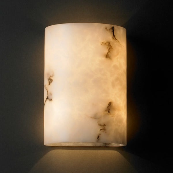 Justice Design Group 2-light Small Cylinder Faux Alabaster Wall Sconce