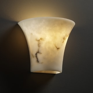 Justice Design Group 2-light Round Flared Faux Alabaster Wall Sconce