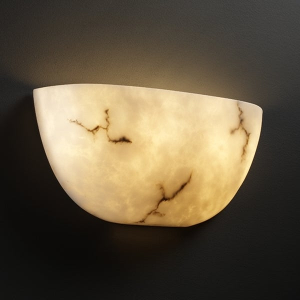 Justice Design Group 2-light Quarter-Sphere Faux-Alabaster Uplight Wall Sconce