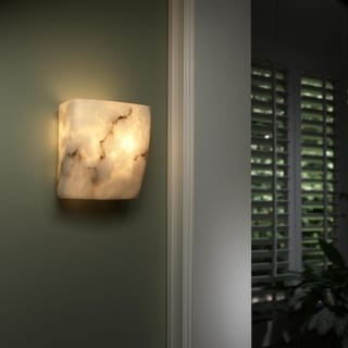 Justice Design Group 2-light Square Faux Alabaster ADA Approved Wall Sconce