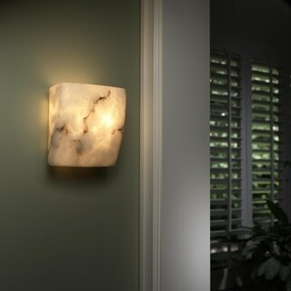 Justice Design Group LumenAria 2-light ADA (No Metal) Wall Sconce, Square Faux Alabaster Shade