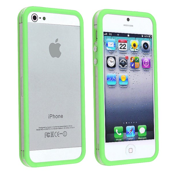 INSTEN Clear/ Green TPU Bumper Phone Case with Aluminum for Apple iPhone 5/ 5S/ 5C/ SE