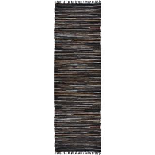 Hand Woven Matador Brown Stripe Leather Rug (2.5'x12')