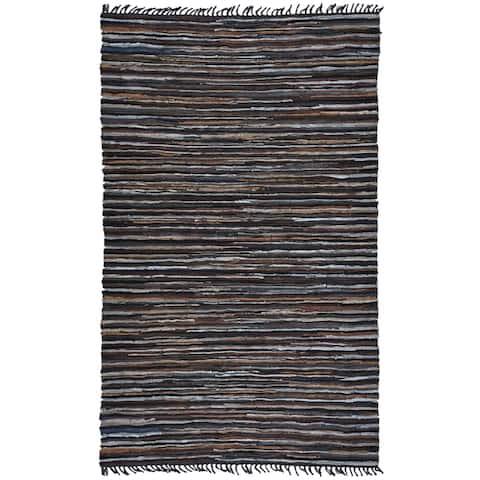 Mix Brown Matador Leather Chindi Rug