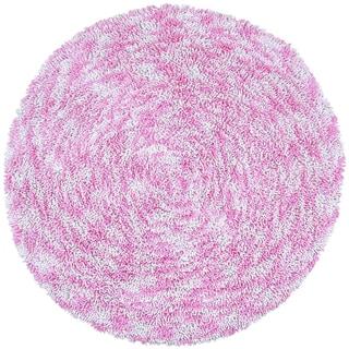 Shagadelic Pink Chenille Twist Swirl Round Rug (3' x 3')