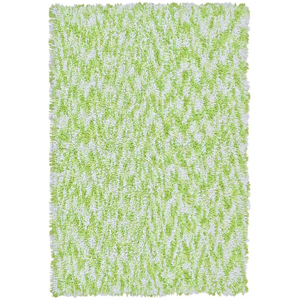 Shagadelic Green Chenille Twist Swirl Rug (4' x 6')