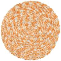 Orange Shagadelic Chenille Twist Swirl Rug - 5' x 5'