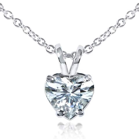 Annello by Kobelli 14k White Gold 6.5mm Heart Shape Moissanite Solitaire Necklace