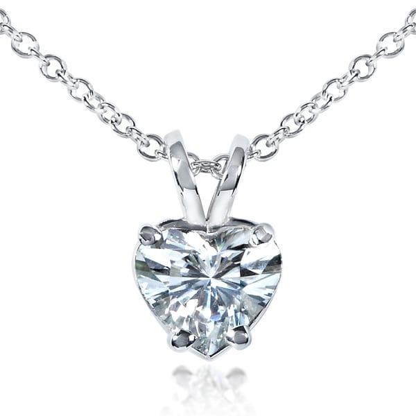 Annello by Kobelli 14k White Gold 6.5mm Heart Shape Moissanite Solitaire Necklace