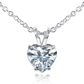 Annello 14k Gold Heart-cut Moissanite Solitaire Necklace