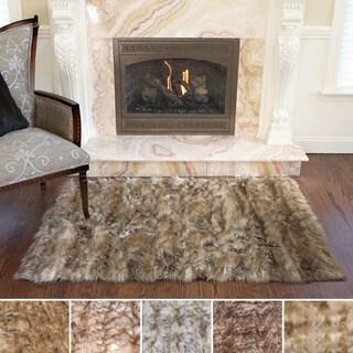 Aurora Home Wild Mannered Luxury Long Faux Fur Rug