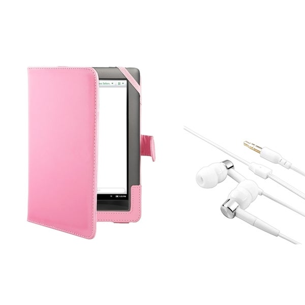 BasAcc Pink Leather Case/ Headset for Barnes & Noble Nook