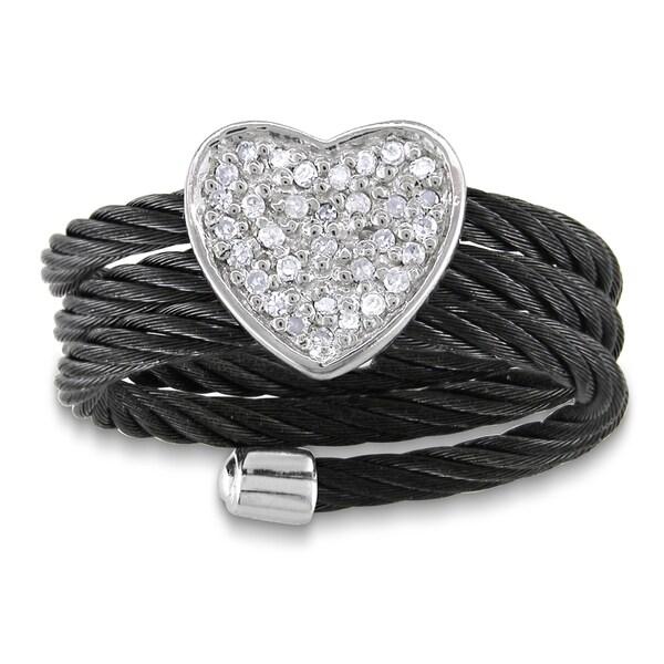 Miadora Sterling Silver Diamond Black Cable Heart Ring