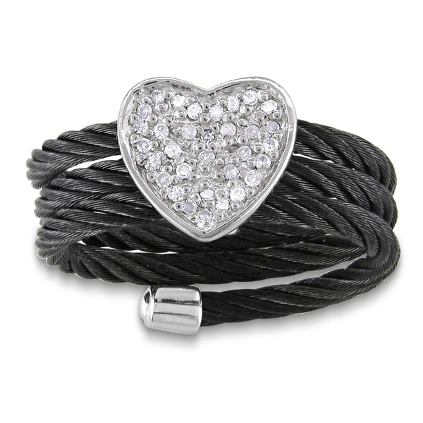Miadora Sterling Silver Diamond Black Cable Heart Ring