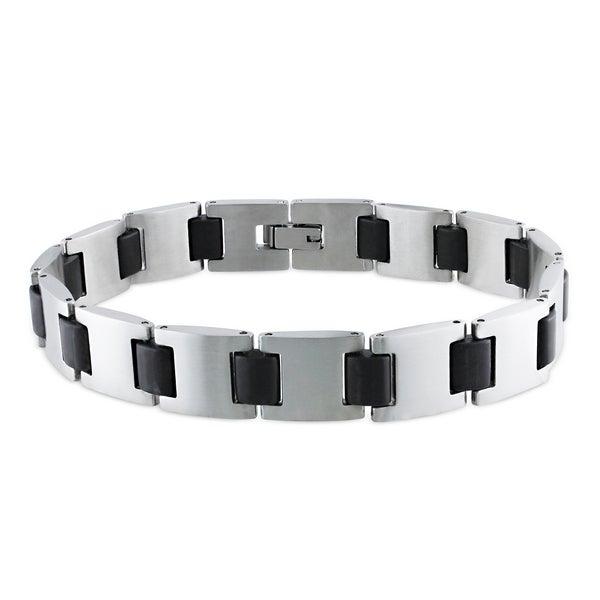 Miadora Stainless Steel Men's Black Link Bracelet