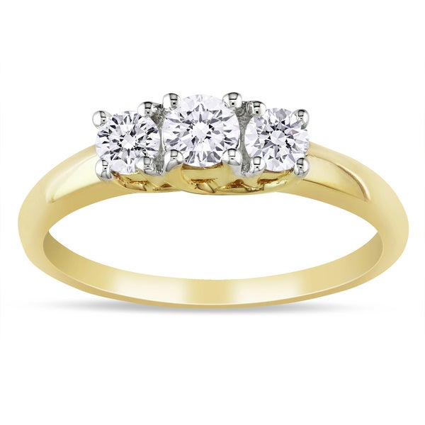 Miadora 14k Yellow Gold 1/2ct TDW Diamond 3-stone Ring (G-H, I1-I2)