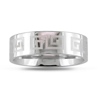 M by Miadora Stainless Steel Engraved Craft Ring