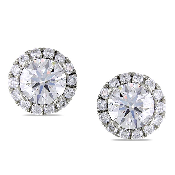 Miadora 18k White Gold 1 4/5ct TDW Diamond Halo Stud Earrings (H-I, SI1-SI2)