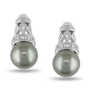 Miadora 14k White Gold Tahitian Pearl and Diamond Earrings (G-H, I1-I2)