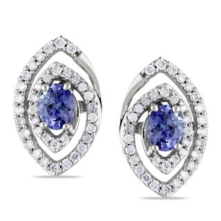 Miadora 10k Gold Tanzanite and 3/8ct TDW Diamond Earrings (G-H, I1-I2)