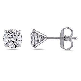 Miadora Signature Collection 14k White Gold 1 1/2ct TDW Diamond Stud Earrings