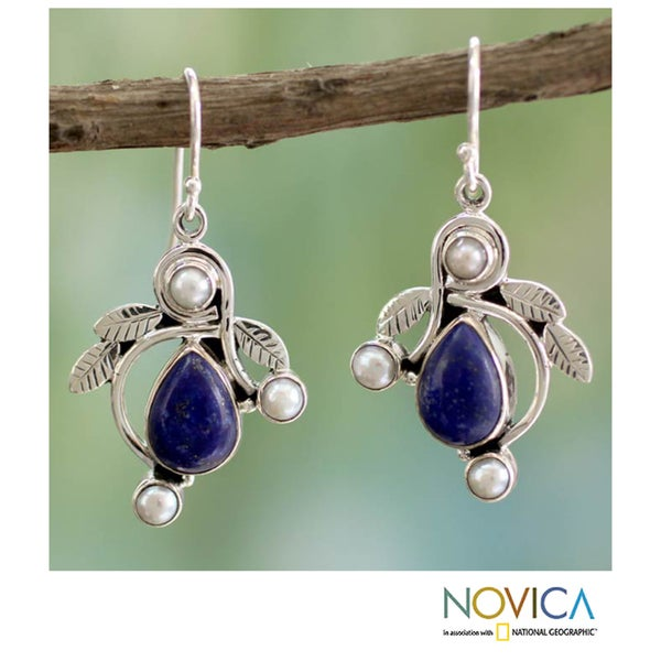 Sterling Silver 'Tropical Fruit' Pearl Lapis Earrings (4 mm) (India)