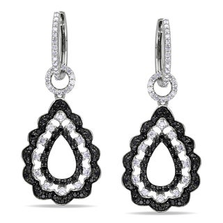 Miadora Signature Collection 14k White Gold 1 7/8ct TDW Black and White Diamond Earrings
