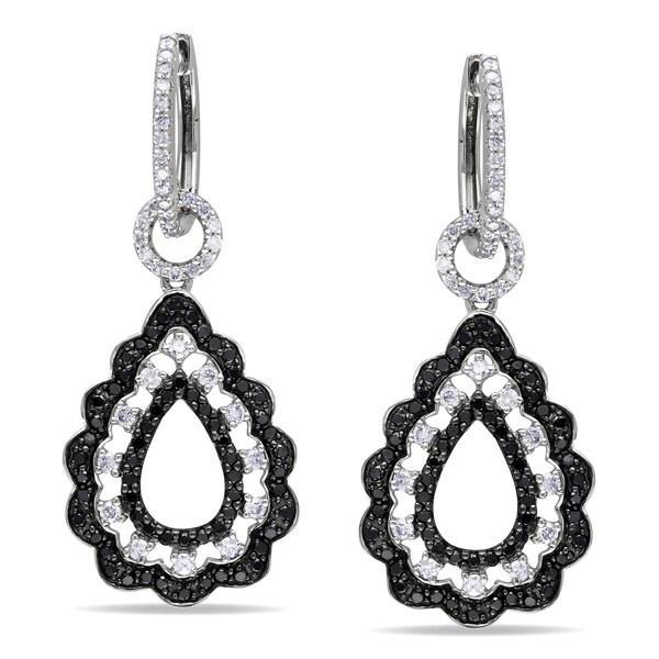 Miadora Signature Collection 14k White Gold 1 7/8ct TDW Black and White Diamond Earrings