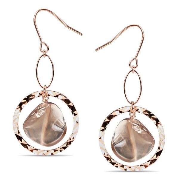 Miadora Goldtone Smokey Quartz Dangle Earrings