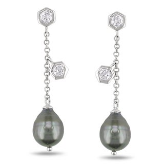 Miadora Sterling Silver Tahitian Pearl and CZ Earrings (9-9.5 mm)