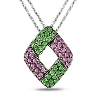 Miadora 18k White Gold Pink Sapphire and Green Tsavorite Necklace