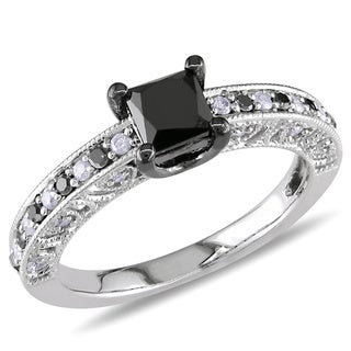 Miadora Sterling Silver 1ct TDW Black Princess-cut and White Diamond Ring