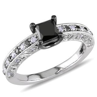 Miadora Sterling Silver 1ct TDW Black Princess-cut and White Diamond Ring