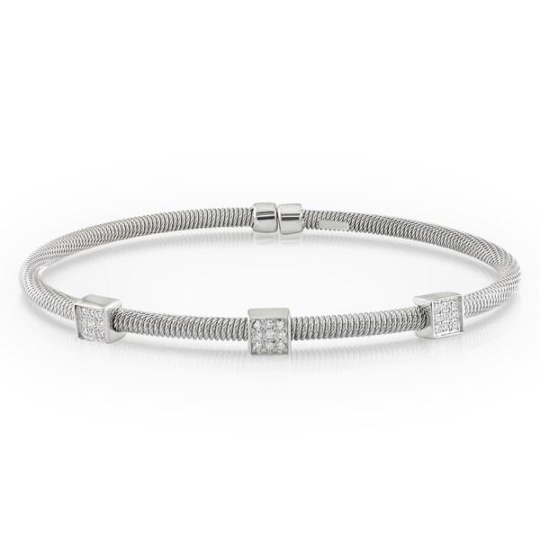 Miadora 14k White Gold 1/10ct TDW Diamond Bracelet