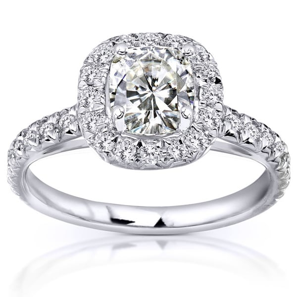 Annello by Kobelli 14k White Gold Cushion Moissanite and 2/5ct TDW Diamond Engagement Ring
