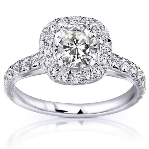 Annello by Kobelli 14k White Gold 1 1/2ct TGW Cushion Moissanite (HI) and Diamond Halo Engagement Ring