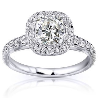 Annello By Kobelli 14k White Gold 1 1 2ct TGW Cushion Moissanite And Diamond Halo Engagement Ring