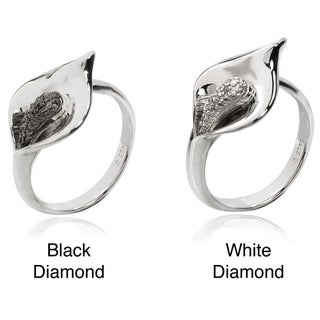 De Buman Sterling Silver Diamond Accent Cala Lily Flower Ring (More options available)