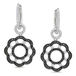Miadora Signature Collection 14k Gold 1 5/8ct TDW Black and White Diamond Earrings