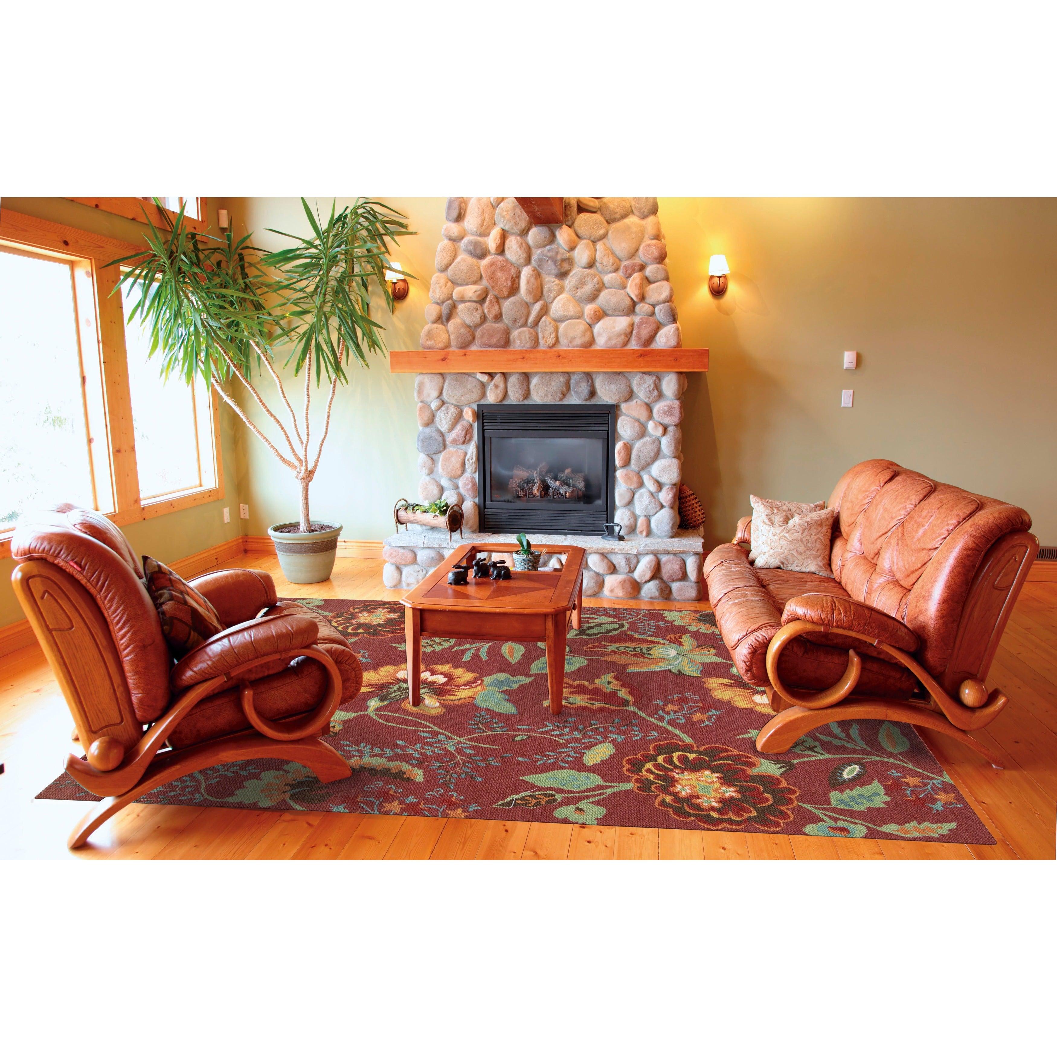 Nourison Vista Floral Brick Rug (4' x 6'-Standard), Red, ...