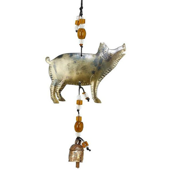 Handmade Practically Perfect Pig Wind Chime (India)